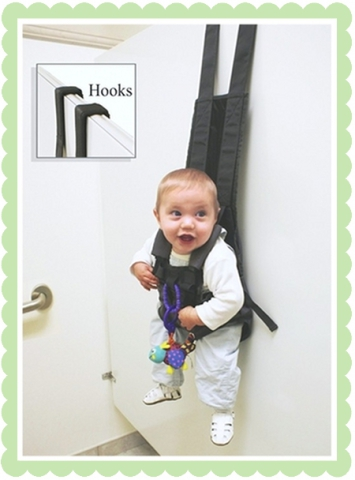 Baby Hooks. If you have to buy a present for somebody that has a kid, why not buy them  a freaky harness that they can hang there kids over bathroom doors with? Hang them directly above the toilet for the highest chance of ruining your children forever.