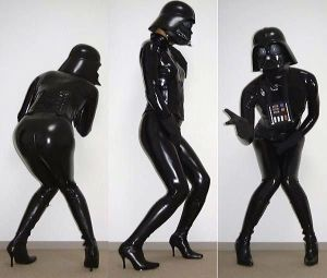 No Star Wars themed BDSM dungeon is complete without a latex Darth Vader Gimp Suit. Because disfigured cyborgs are sexy.